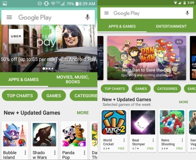 novedades en la interfaz de google play 7.0.25